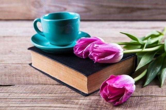 coffee cup Bible tulips