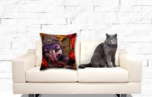 Ganeshs Lotus Fire, Throw Pillow