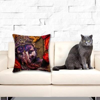 Ganeshs Lotus Fire, Throw Pillow