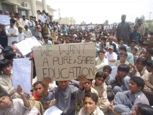 students protesting against threats to schools in Punjgur