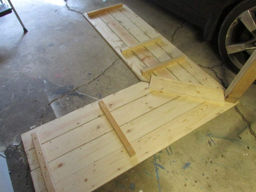 l shaped plank desk