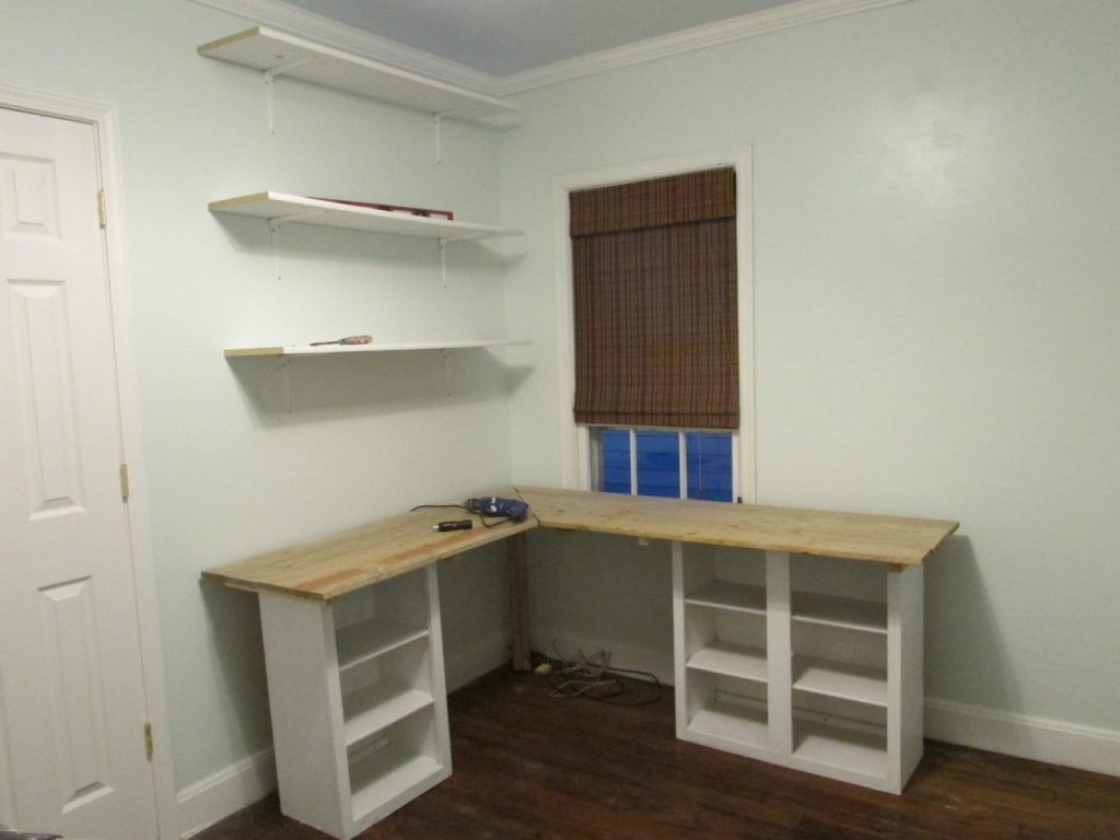 l shaped desk using cabinet bases