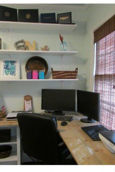DIY Office, removing textured walls, diy desk, office makeover, office remodel, DIY office project