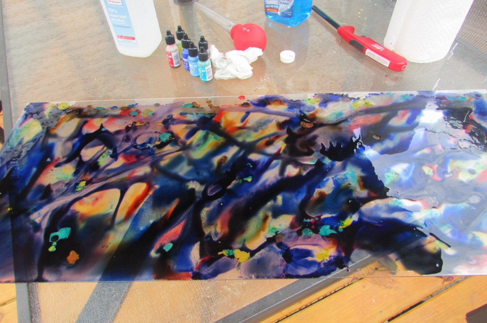 Alcohol ink with rubbing alcohol