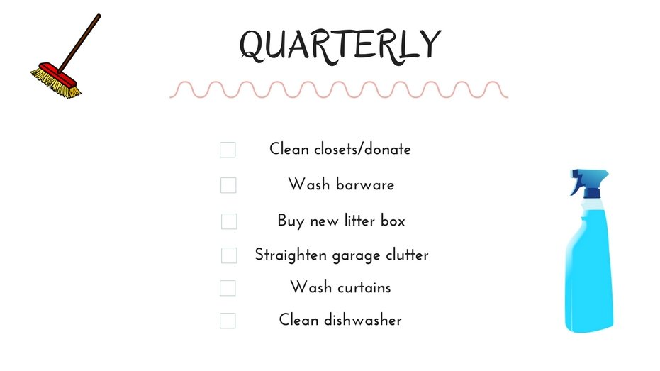 Cleaning schedule quarterly