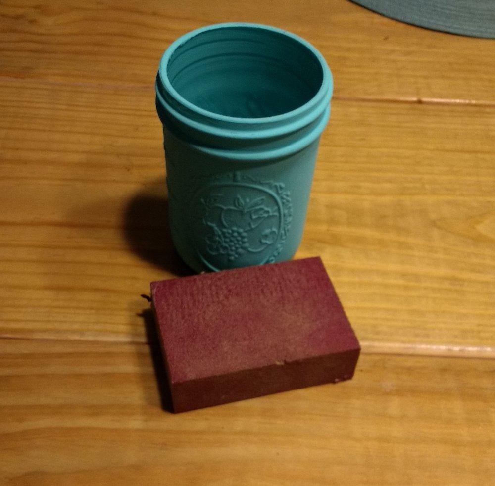 mason jar sanding