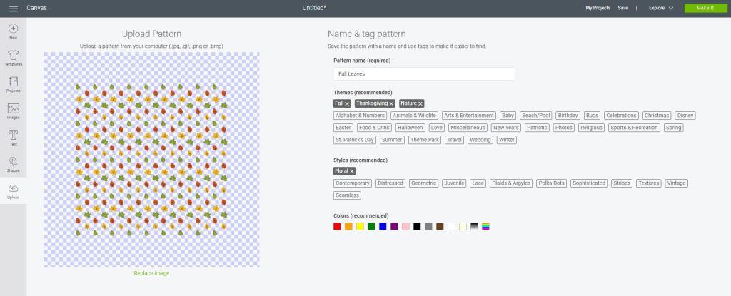 Cricut Design Space Pattern Options
