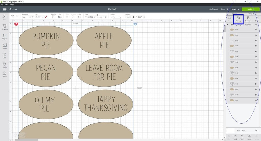 Uploaded Thanksgiving Pie Toppers SVG file in Design Space