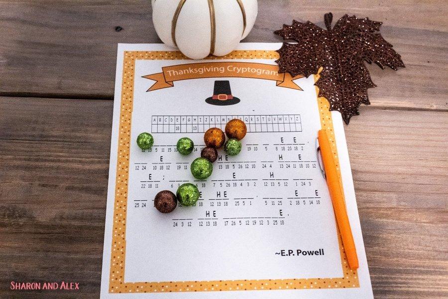 Free Printable Thanksgiving Games - Cryptogram
