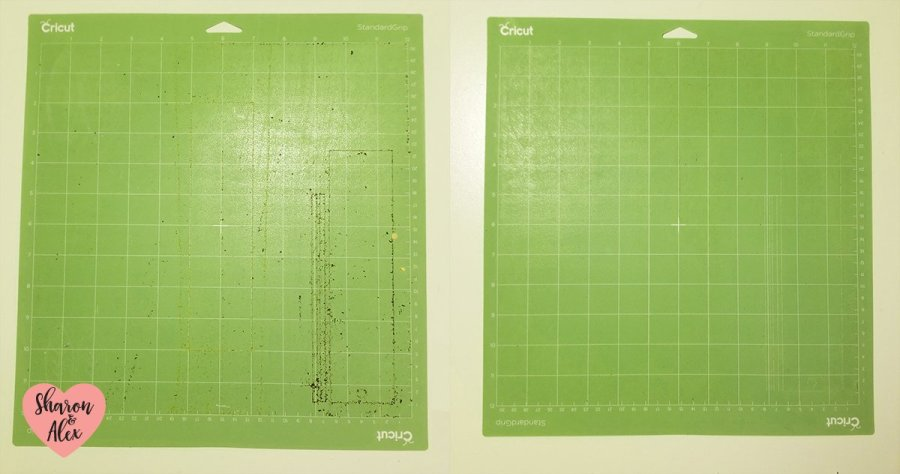 Before and after cleaning cricut cutting mats