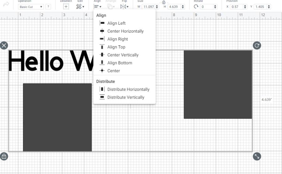 Cricut Design Space Align Option