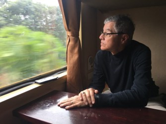 Watching the scenery from the train