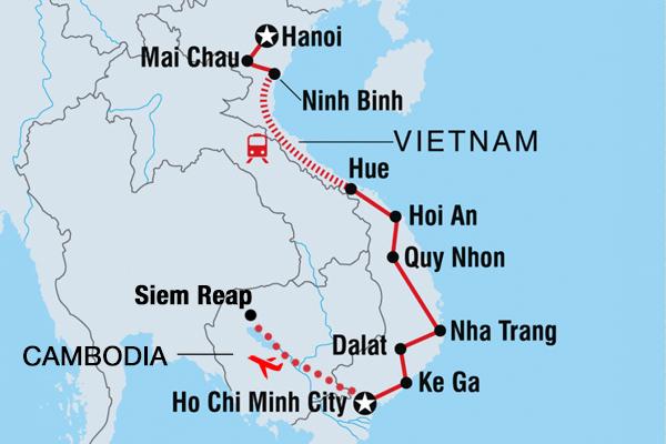 vietnam cambodia trip route