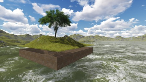 The floating island made in 3d software