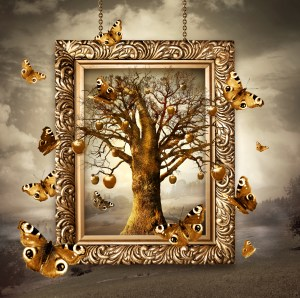 Magic tree with butterflies in frame.