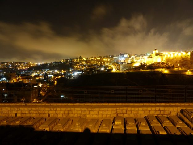 Night view over the Jewish cemetery from the Mount of Olives Jerusalem