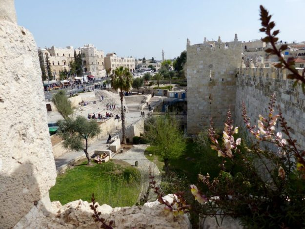 View of Damascus Gate from on top of the Old City walls Jerusalem