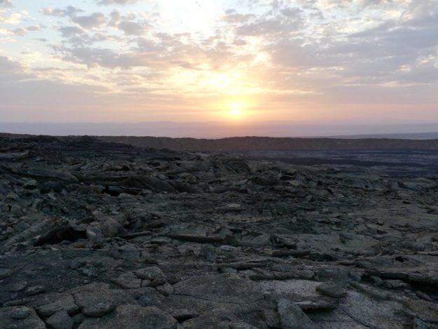 Sunrise at the volcano rim