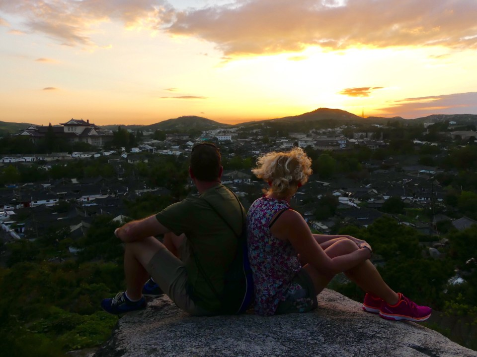 Watching the sunset over Kaesong City