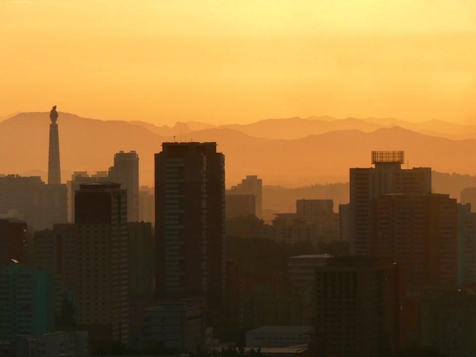 Sunrise Pyongyang skyline