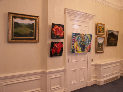 Hibiscus 1 and 2 mounted in the exhibition