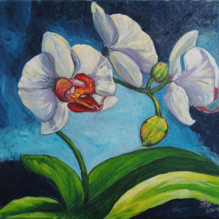 White Phalaenopsis Orchid, Acrylic on Canvas, 2014