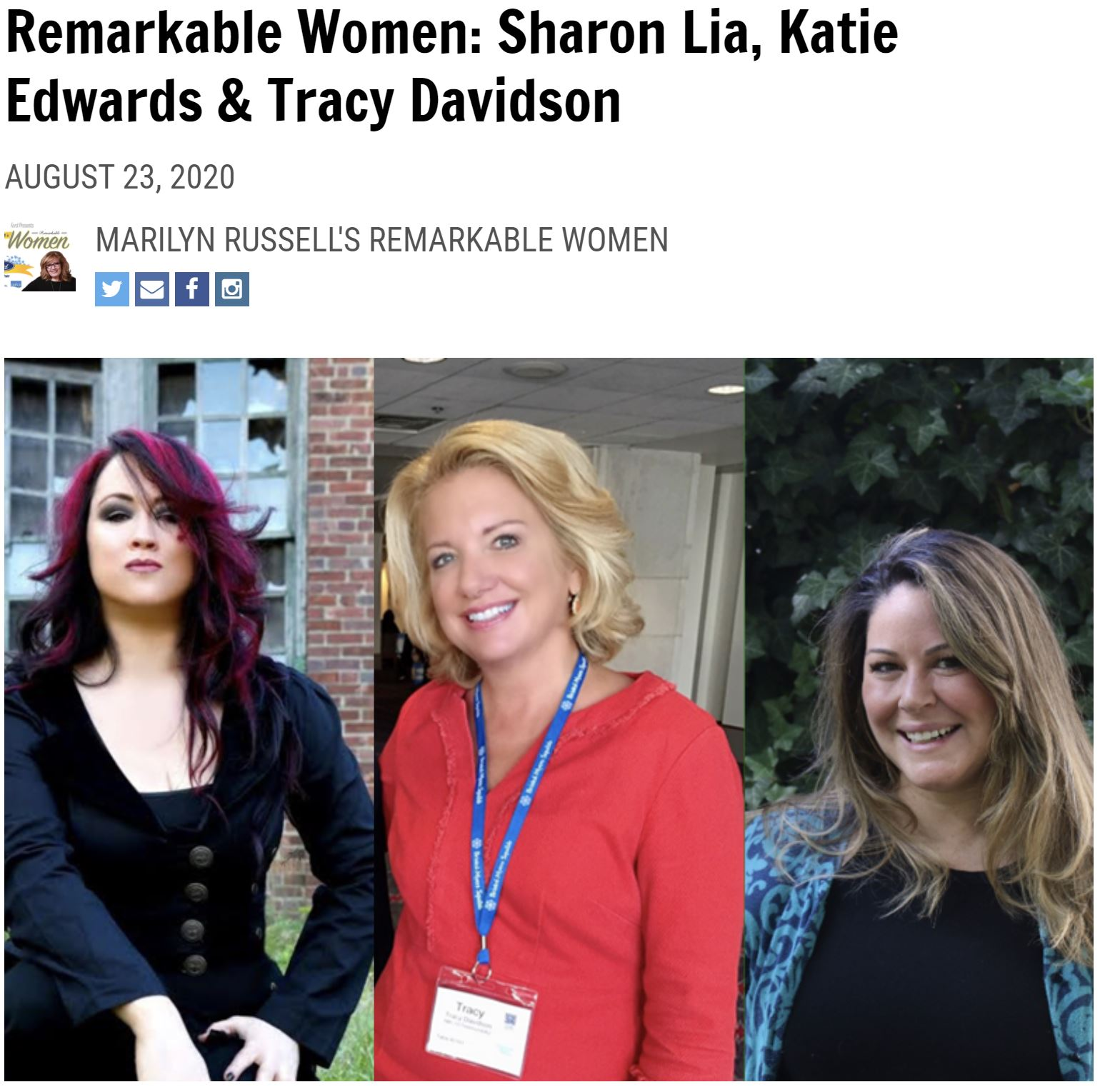 Sharon Lia on Marilyn Russells Remarkable Women Show August 23 2020