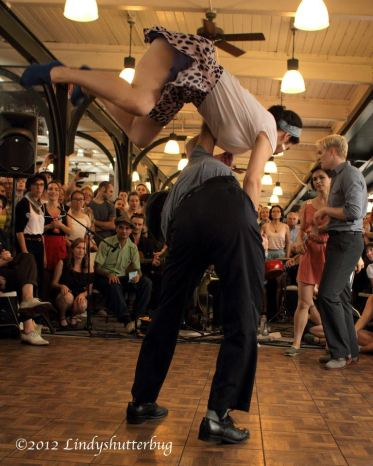 Competing with Juan Villafane at Ultimate Lindy Hop Showdown 2012, New Orleans USA // Photo by Lindyshutterbug