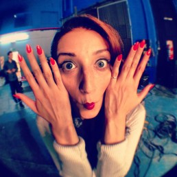 Sarah being a fish for my fisheye lense, on set of Ula Ula music video shoot