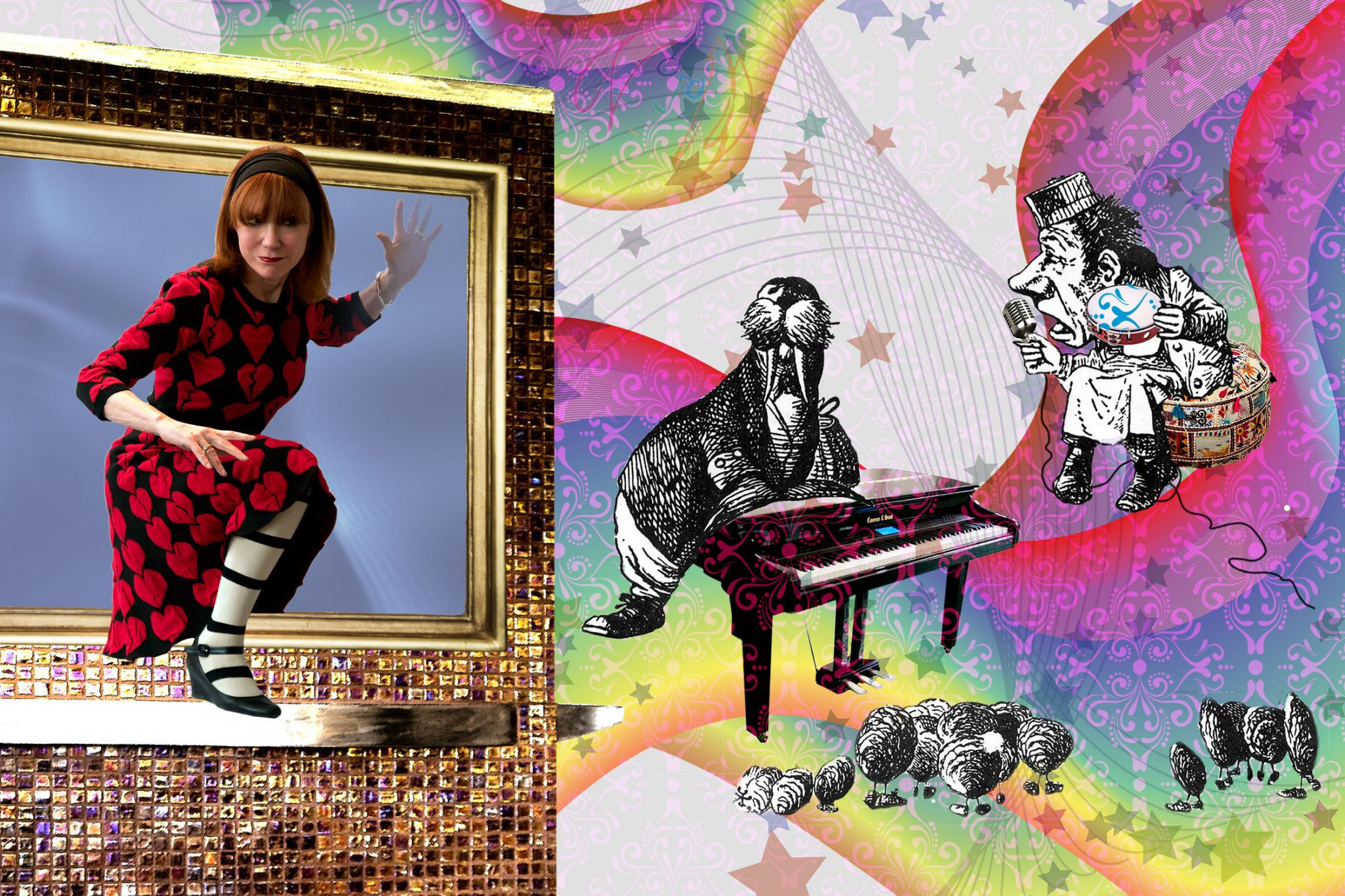 Through the Looking Glass homage to John Lennon and the Beatles song I Am the Walrus