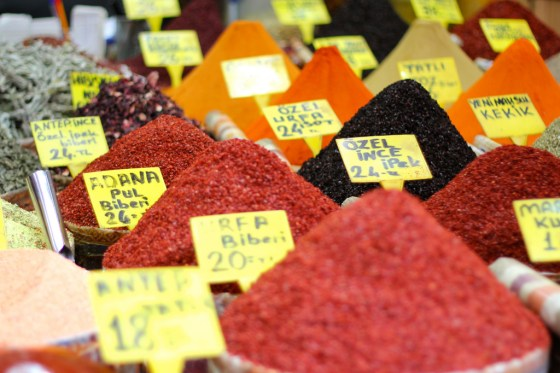Colorful Spices at a market in Istanbul, Turkey