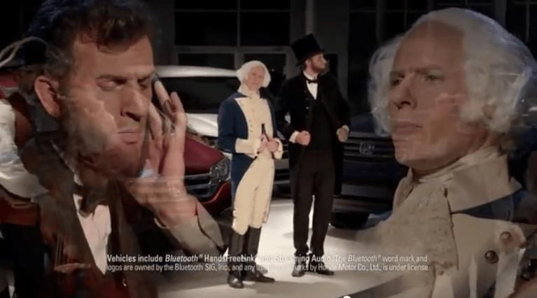 "Funny Ad: ""Who's Your Founding Father?"" Honda Presidents' Day Sale Commercial Asks"