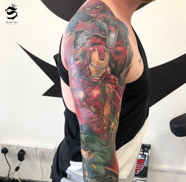 Marvel Themed Full Sleeve at Sharp Art Studios