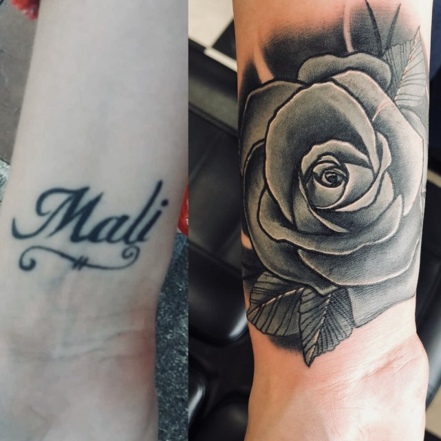 Grey rose tattoo covering up the name, Mali
