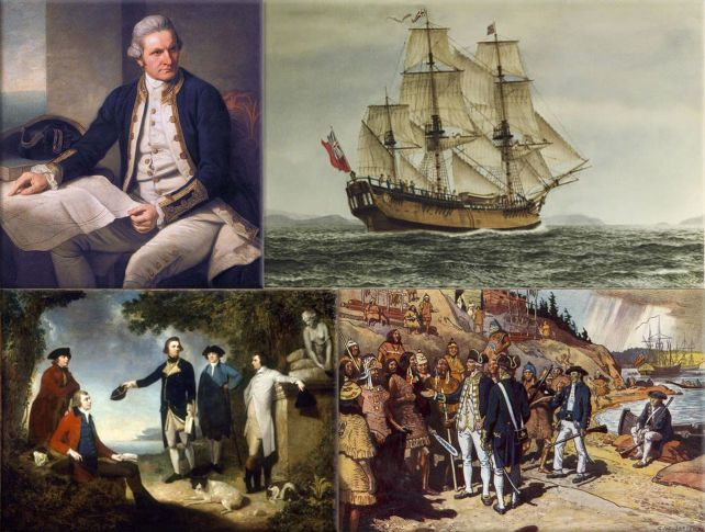 Images shows Captain James Cook, his ship and some of his voyages
