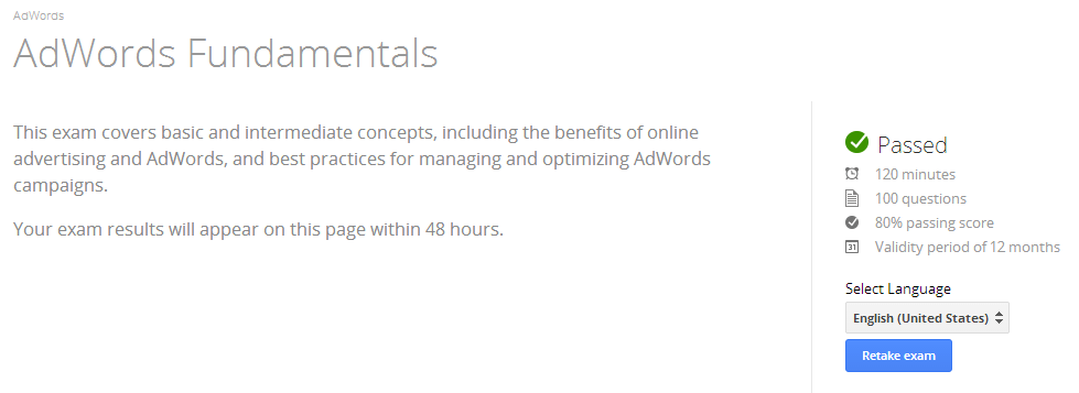 AdWords Fundamentals Requirements