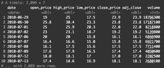 A printout of the Tesla stock data contained in the tsla_stock_metrics dataframe.