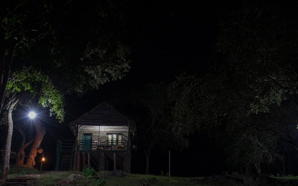 Our log hut, Chamundi at night.
