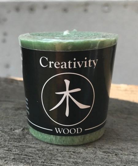 Feng Shui I Wood Creativity 100% Essential Oil Votive Candle   Shasta Rainbow Angels