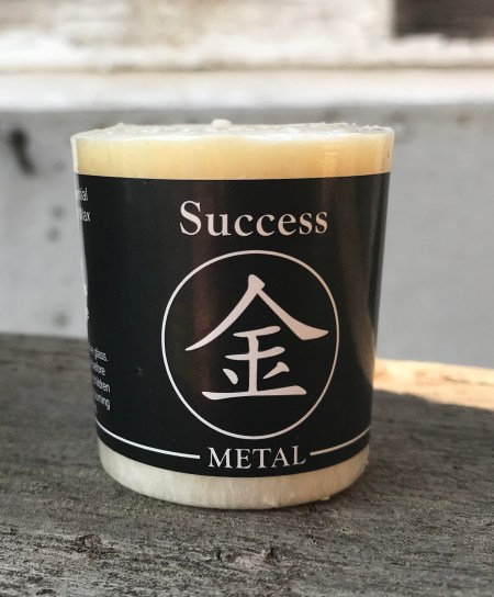 Feng Shui Metal Success 100% Essential Oil Votive Candle   Shasta Rainbow Angels