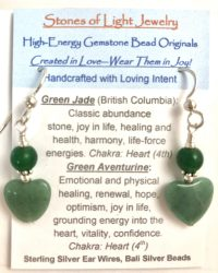 Green Jade & Green Aventrine Sterling Silver Ear Wire Earrings | Shasta Rainbow Angels