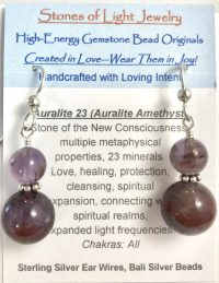 Auralite 23 Amethyst Sterling Silver Ear Wire Earrings | Shasta Rainbow Angels
