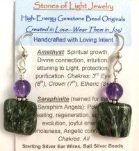 Amethyst & Seraphinite Sterling Silver Ear Wire Earrings   Shasta Rainbow Angels