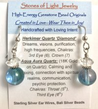 Herkimer & Aqua Aura Sterling Silver Ear Wire Earrings | Shasta Rainbow Angels
