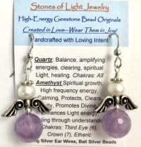 Amethyst Angel Sterling Silver Ear Wire Earrings | Shasta Rainbow Angels