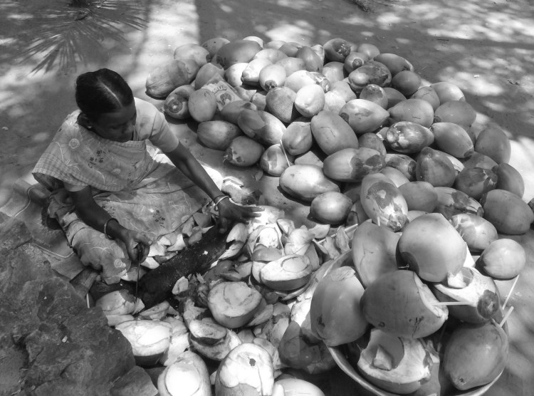 A woman selling coconut water
