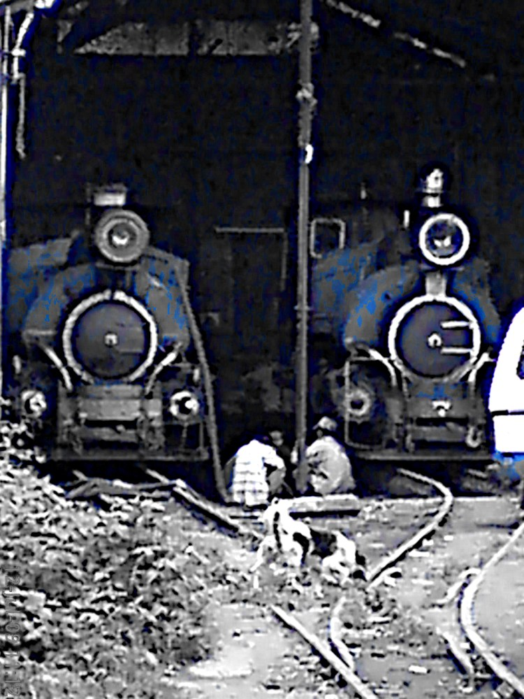 Image of Toy Train Engines in shed