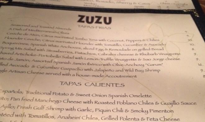 Zuzu Menu
