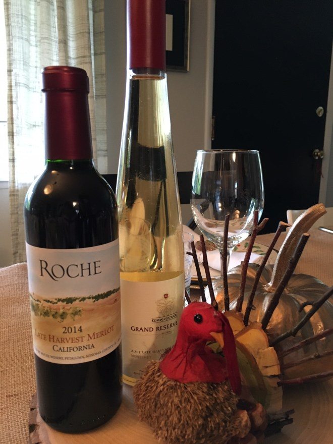 Late Harvest Merlot from Roche Winery and a Kendall Jackson Late Harvest Riesling.