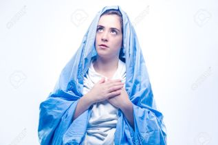 Virgin Mary with Blue Veil Praying on White Background